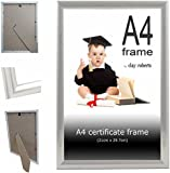 A4 Plain Silver Photo Picture Certificate Clay:Roberts Frame Wall & Desk Mountable