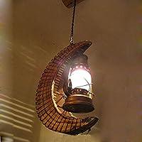 CNMKLM Sud-est asiatico Bamboo mezzaluna catena pendente soffitto corridoio di luce di bambù con lanterna in vetro luce pendente Ristorante corridoio balcone Ciondolo lampada