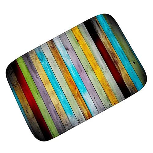 gmatte Türmatte Flanell Polyester Material Rutschfester Waschbarer Sauberlaufmatte Home Decoration Kunkka-15, Color Wooden Board, 50x80cm ()