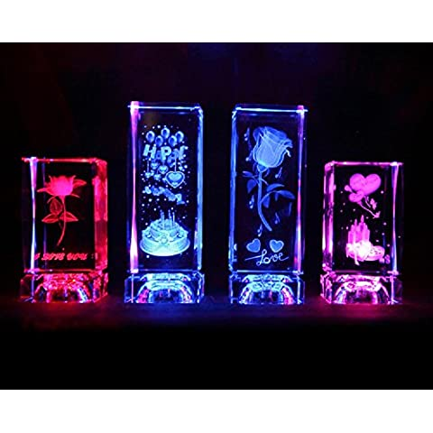 XJoel 3D incisione laser fermacarte di vetro inciso doni della Rosa Fiore Prestige L Transperant Claro NUOVO