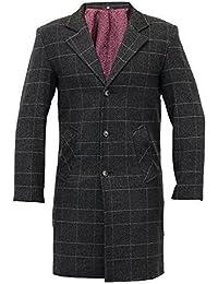 Manteau Homme Trench Coat Mélange de Laine Longue Veste à Carreau Tweed Sur Manteau Doublé