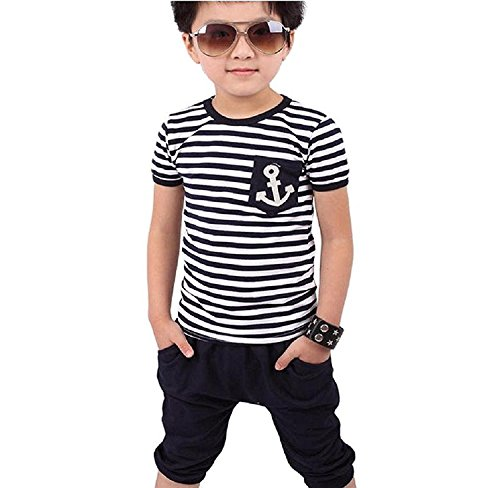 6-7Year 130CM , Blue : Cool Boys Navy Striped Sets,Malloom New Children Clothing Boys Casual T-shirt + Pants Suits