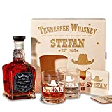 Holzkiste mit Jack Daniel's Single Barrel Tennessee Whiskey | 6-tlg Whisky Geschenk-Set inkl. Gravur Motiv - Wild West