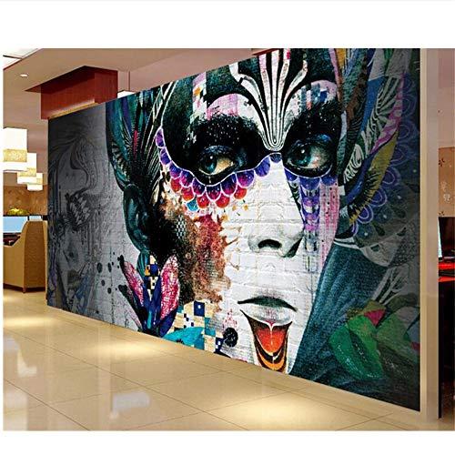 Mrlwy Papel Pintado Para ParedesPared De Ladrillo Nostálgico Pintado A Mano Pintado Color Figuras Graffiti Papel Tapiz 3D-250X175CM