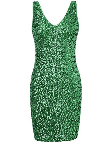 PrettyGuide Damen tiefer V-Ausschnitt Pailletten Glitzer Bodycon Mini partei-Kleid L grüne