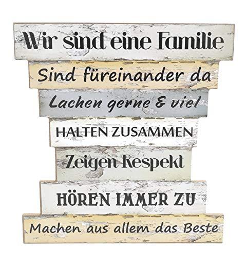Holzschild Vintage Stil mit Sprüchen, Wir sind eine Familie, Familien Regeln, Family Rules, Leben, Lieben, Lachen, Zuhause, Maße 32 x 30 cm (Schilder Familie)