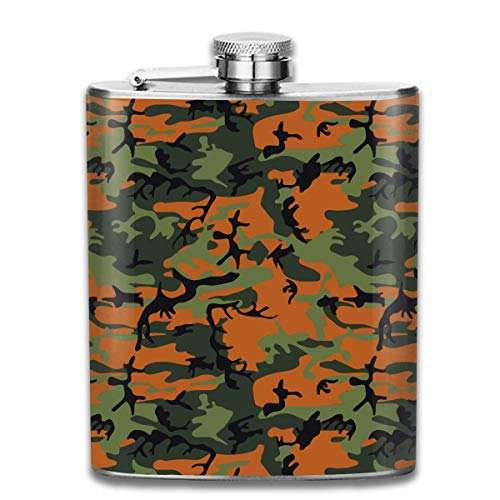 deyhfef Orange Green Camo Pocket Leak Proof Liquor Hip Flask Alcohol Flagon 304 Stainless Steel 7OZ Gift Box Outdoor