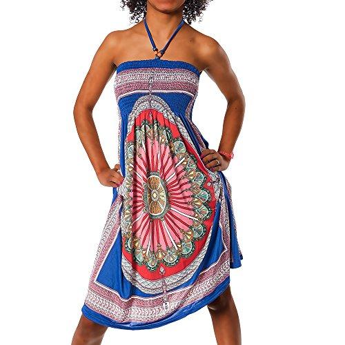 H112 Damen Sommer Aztec Bandeau Bunt Tuch Kleid Tuchkleid Strandkleid Neckholder, Farben:F-026 Blau;Größen:Einheitsgröße