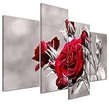 Kunstdruck - Rosenrot - Bild auf Leinwand - 120x80 cm 4 teilig - Leinwandbilder - Bilder als Leinwanddruck - Pflanzen & Blumen - Natur - Rosenstrauch vor schwarz weißem Hintergrund