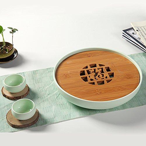 CUPWENH Keramik Teeservice Kung Fu Tee Tablett Aus Bambus Holz Japanischer Tee Tasse Kaffee Tassen Keramik Teekanne Gongfu Cha Pan Tools Portable Tasche Fach