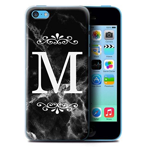 Personalisiert Schwarz Marmor Mode Hülle für Apple iPhone 4/4S / Gerahmt Weiß Single Design / Initiale/Name/Text Schutzhülle/Case/Etui Gerahmt Weiß Single
