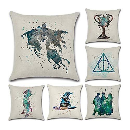 CADITEX Weicher Flachs-Kissenbezug, für Sofa, Autositz, Kissen, Zuhause, Bett, Dekoration. (6pcs-Harry Potter)