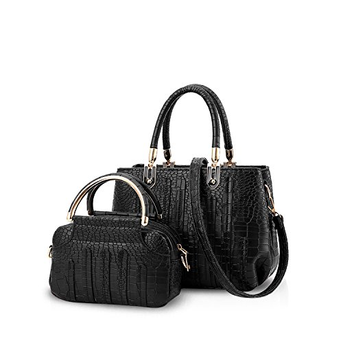 NICOLE&DORIS Neue Mode Damen Handtaschen Umhängetasche Tasche Crossbody 2PCS Tasche Riss PU Schwarz Schwarz