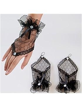 Primi moda encantador boda novia corto Fingless encaje guante–negro