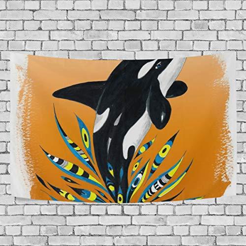 Hustor Cute Orca Whale Orange Doodle Splash Wandteppich, Wandteppich, für Wohnzimmer, Schlafzimmer, Schlafsaal Deko, 152,4 x 137,2 cm -