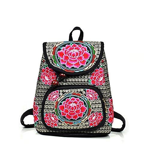 Filles Broderie Chiffon Sacs à dos–Memorecool Grande Fleur dans des couleurs éclatantes ethnique Sentiments de voyage Sacs d'école Rouge flower8