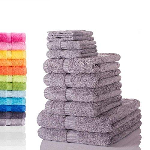 Etérea Carli 10 tlg. Handtuchset, 4x Handtücher, 2x Duschtücher, 2x Gästetücher, 2x Waschhandschuhe - Steingrau|Qualitäts Frottierware 500 g/m² 100% - Muster Handtuch-set