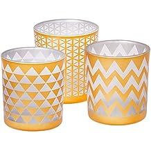 Teelichthalter Auro 3er Set | Teelichtglas Gold Gelb Dekoration Geometrisch  Skandinavisch Zickzack Dreiecke