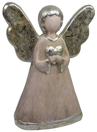 CHICCIE Figurine Ange en céramique avec cœur et Ailes 11 cm 15 cm 23 cm 40 cm Doré Argent Décoration de Noël, Céramique, (HxBxT) ca. 40cm x 30cm x 12cm