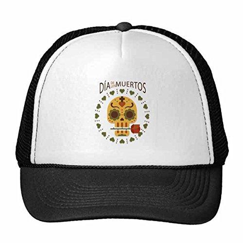 DIYthinker Schädel-Rosen-Alles- der Tag der Toten Mexiko Kultur Trucker-Mütze Baseballkappe Nylon-Mesh-Kühler Hut Justierbare Kappe Kinder Rose Trucker Hut