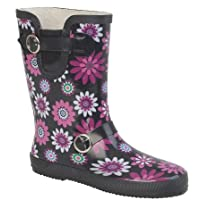 New Womens Wide Calf FLORAL PRINT Wellingtons Wellies