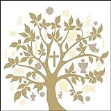 40x Ambiente Servietten Symbol Baum Gold Taupe Kommunion Konfirmation Taufe Tischdeko 20 Stück 33x33cm
