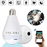 Conbre V380 Spy Bulb Shape Fisheye 360° Panoramic Wireless WiFi 2MP Ultra HD IP CCTV with Wireless Security, 2 Way Audio inbuilt Mic and speaker and Support 64Gb Sd Card - Panoramic View Covers 360 Degree