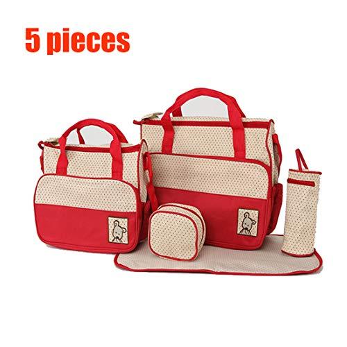 FORBABY Nappy Bag Koffer Multi-Function Backpacking 5-Piece mit 3 Taschen 1 Flaschenbeutel und 1 Nappy Pad für Feiertage Reisen,red -