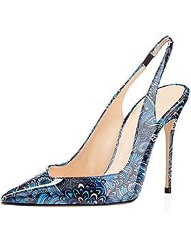 ELASHE - Scarpe da Donna - 10CM Slingback Sandali Heels- Tacco Gattino Con Cinturino Caviglia Fibbiaco