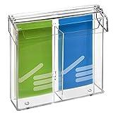 2-Fach DIN Lang Prospektbox/Prospekthalter / Flyerhalter im Hochformat, wetterfest, für Außen, mit Deckel, aus glasklarem Acrylglas - Zeigis®