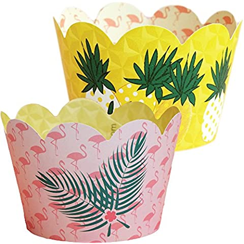 Luau Hawaiian Theme Flamingo Party Supplies, Pineapple Cupcake Decorations, Confetti Couture, 36 Wrappers by Confetti Couture Party Supplies