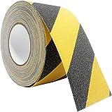 TOOHUI Antirutsch Klebeband, Premium Qualität Anti-Rutsch-Klebeband, Antislip Selbstklebend Band, Sicherheitsband Wasserfest für Treppen/Schritte (10m×5cm, Schwarz und Gelb)