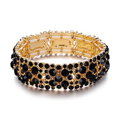 Ever Faith Damen runder österreichischer Kristall Elegantes Braut Stretch Armband Schwarz Gold-Ton