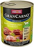 Animonda GranCarno Hundefutter Adult, Nassfutter für ausgewachsene Hunde von 1 – 6 Jahren, Rind und Kaninchen mit Kräutern, 6er Pack (6 x 800g)
