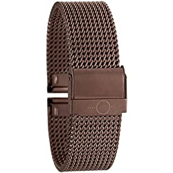Eichmüller Elegant BANDOH Milanese Mesh Metal Watch Stainless Steel Bracelet with Safety Fastener Metallic Brown with 18 mm