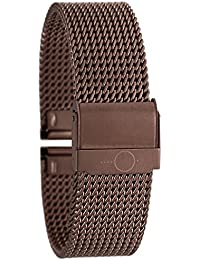 Eichmüller–edles bandoh Acero Inoxidable Milanaise Malla Metal Reloj de pulsera con cierre de seguridad Click metallicbraun 18mm