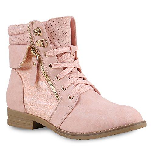 Stiefelparadies Damen Stiefeletten Schnürstiefeletten Leder-Optik Schuhe Spitzenstoff Boots Zipper Schnürboots 130896 Rosa Spitze 41 ()
