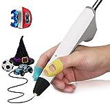 Bolígrafo 3D, THZY Bolígrafo 3D de impresión Bolígrafo 3D graffiti con 2 filamentos de PCL de 1.75 mm gratis, Regalos y juguetes de Navidad para niños y adultos(Blanco)