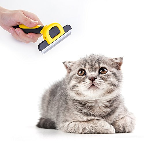 MIU COLOR TM Professionale Pet Grooming sottopelo Rake pettine, strumento Dematting, strumento di styling per i cani a pelo corto e medio 4 pollici, giallo