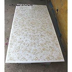 """Lujo 60""""x 30"""" rectangular de mármol blanco mesa de comedor superior Inlay Madre de Pearl piedras"""