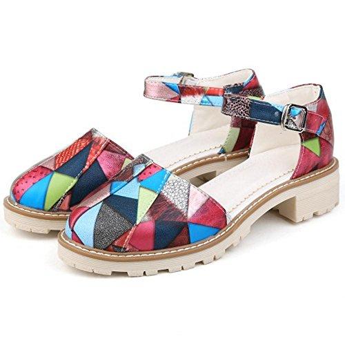 COOLCEPT Femme Mode Bout Ferme Rond Talon Epais Escarpins Chaussures Bride Cheville Boucle Multicolore