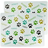 2 Pack Pet Feeding Placemat Dog Cat Puppy Kitten Food Water Bowls Mat Paw Print Plastic Easy Clean Wipe Down - Chew Chopm