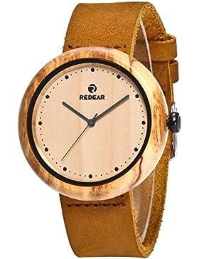 Redear Holzuhr, beiläufige hölzerne Uhren für Damen handgemachtes 100% natürliches Holz mit Leder-Bügel Japanische...