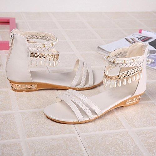 Omiky® Sommer-elegante Plattform-Schuh-Frauen-Perlen-Keil-Sandelholze beiläufige Schuhe Weiß