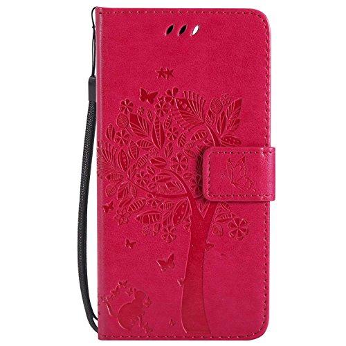 Preisvergleich Produktbild DENDICO Google Pixel 2 Hülle,  Leder Handyhülle mit Standfunktion und Kartenfach,  Magnetverschluss Flip Brieftasche Etui Schutzhülle für Google Pixel 2 - Pink