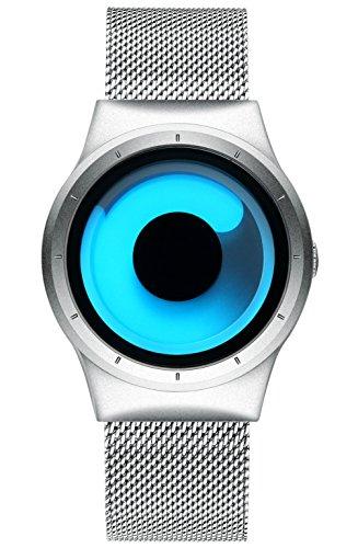 Homme simple Design montres Bracelet en maille pour homme Noir de luxe montre bracelet en acier inoxydable Band 30 m étanche à quartz Mode Entreprise décontractée montres pour homme Cadran bleu