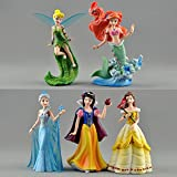 #10: Princess Characters Elsa Frozen, Tinkerbell, Snow White, Ariel Little Mermaid, Belle Action Figure Doll Toys (5pcs Set - Cake Topper) - Smart Buy