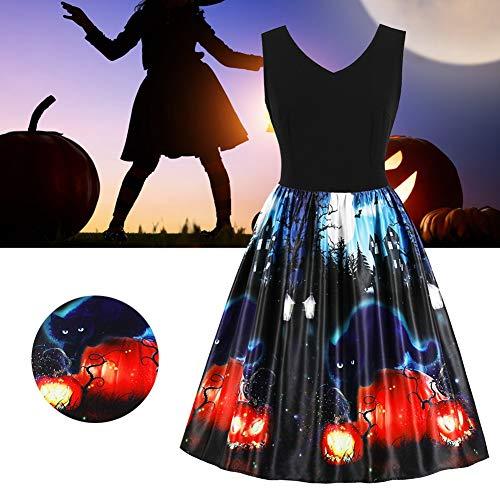 Ärmelloses Midi-Swing-Kleid mit V-Ausschnitt und hohem Bund und Halloween-Motiv, Vintage(4XL)