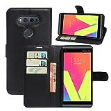 HualuBro LG V20 Hülle, [All Around Schutz] Premium PU Leder Leather Wallet HandyHülle Tasche Schutzhülle Flip Case Cover mit Karten Slot für LG V20 Smartphone (Schwarz)