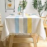 J-MOOSE Tovaglia Moderna Nappa Cotone Lino Tovaglie Decorazione della Tavola da Pranzo Cucina Lavabile (140x180cm, Blue/Yellow)